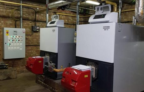 School heating boiler installation